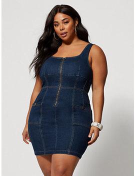 Karianne Zip Front Denim Dress by Fashion To Figure
