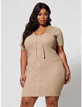 Kolbi Lace Up Sweater Dress by Fashion To Figure