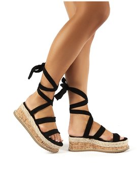 Presca Black Faux Suede Lace Up Sandals by Public Desire