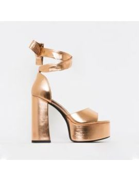 Athena Rose Gold Lace Up Chunky Platform Heels by Simmigirl
