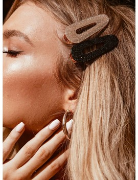 90's Gal Hair Clip Black & Gold by Princess Polly