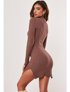 Mocha Ribbed High Neck Knitted Mini Dress by Missguided