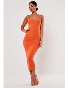 Orange Rib Strappy Midi Dress by Missguided