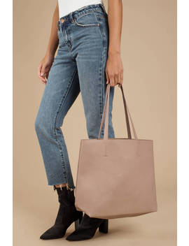 Lilian Taupe Faux Large Tote Bag by Tobi