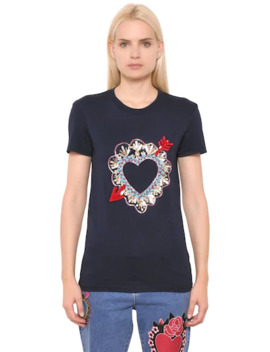 Heart Embroidered Cotton Jersey T Shirt by House Of Holland