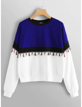 Tassel Patched Color Block Pullover by Shein