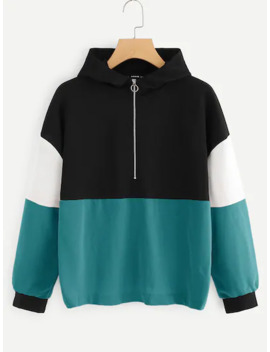 Cut And Sew Half Placket Hoodie by Shein