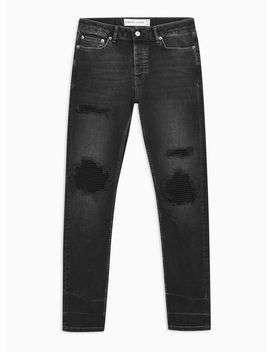 Washed Black Biker Blowout Jeans by Topman