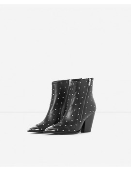 Black Leather Ankle Boots With Metal Toe by The Kooples