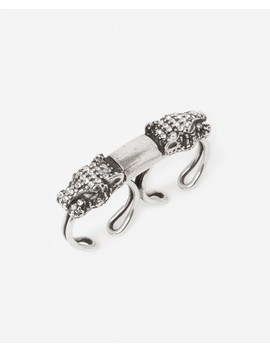 Double Silver Ring With Rhinestone Leopard by The Kooples