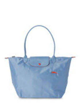 Light Blue Le Pliage Club Large Nylon Shoulder Bag by Longchamp