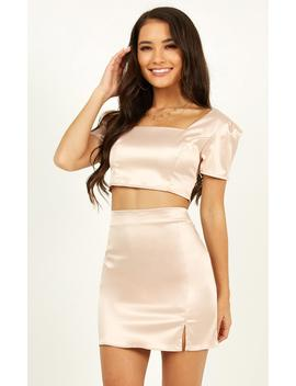 Rustic Romance Two Piece Set In Blush Satin by Showpo Fashion