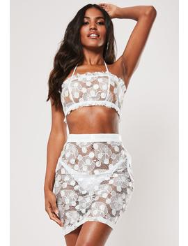 White Co Ord Spotted Lace Beach Crop Top by Missguided