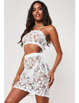 White Co Ord Spotted Lace Beach Midi Skirt by Missguided
