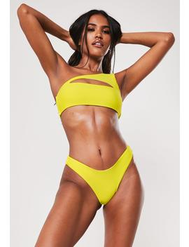 Yellow One Shoulder Cut Out Bikini Top by Missguided