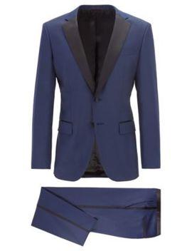Slim Fit Tuxedo In Virgin Wool With Silk Trims by Boss