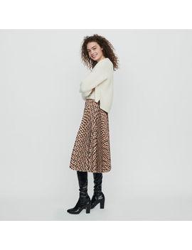 Elasticated Pleated Plaid Skirt by Maje
