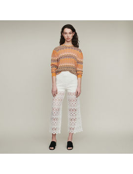 Cropped Trousers In Daisy Print by Maje