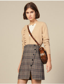 Checked Wrapover Skirt With Slit by Sandro Paris