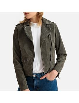 Suede Cropped Biker Jacket by La Redoute Collections