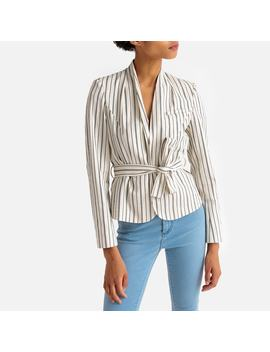 Striped Tie Waist Blazer by La Redoute Collections
