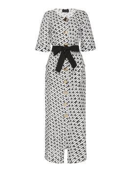 Susie Geometric Print Linen Midi Dress by Saloni