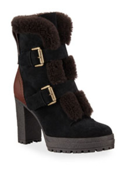 Fur Lined Double Buckle Boots by See By Chloe