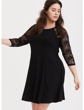 Black Lace Raglan Sleeve Trapeze Dress by Torrid