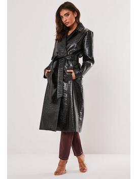 Black Croc Vinyl Trench Coat by Missguided