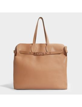 The Belt Large Soft Tote In Light Camel Calfskin by Burberry