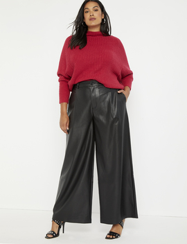 Faux Leather Wide Leg Pant by Eloquii