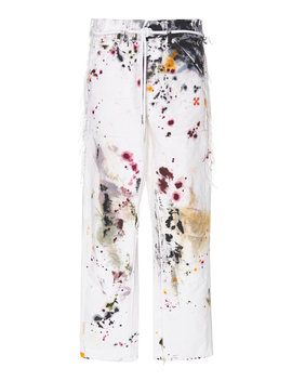 Distressed Belted Mid Rise Straight Leg Jeans by Off White C/O Virgil Abloh