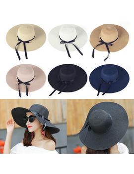 Women's Summer Big Wide Brim Straw Hat Floppy Derby Beach Sun Foldable Cap New by Unbranded