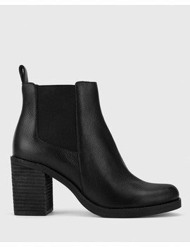Tobey Black Leather Elastic Gusset Block Heel Ankle Boot by Wittner