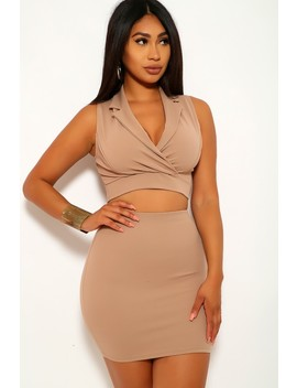 Beige Sleeveless Two Piece Dress by Ami Clubwear