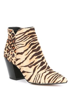 Aden Tiger Print Calf Hair Block Heel Booties by Dolce Vita