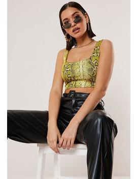 yellow-snake-print-sleeveless-crop-top by missguided
