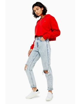 Bleach Acid Double Rip Mom Jeans by Topshop