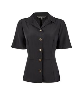 **Black Fitted Utility Shirt by Dorothy Perkins