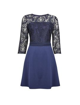 **Blue Trim Front Lace Skater Dress by Dorothy Perkins