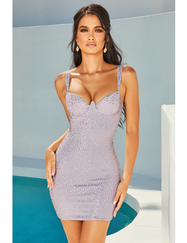 Under Your Spell Underwired Embellished Mini Dress In Lilac by Oh Polly