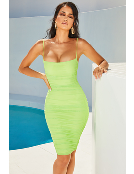First Date Ruched Mesh Bodycon Knee Length Dress In Lime by Oh Polly