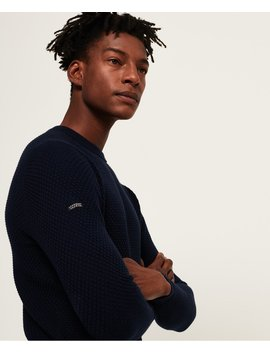 Premium Textured Pima Crew Neck Jumper by Superdry