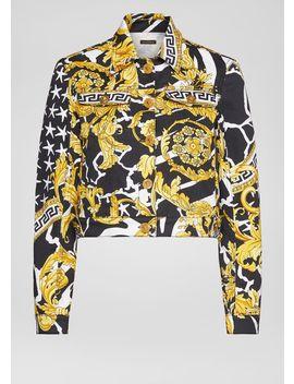 Savage Barocco Print Denim Jacket by Versace