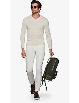 Off White Long Sleeve Polo Jort by Suitsupply