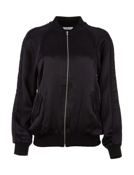 Black Pure Silk Zip Bomber by Equipment