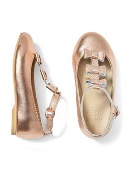 Metallic Bow T Strap Flat by Janie And Jack