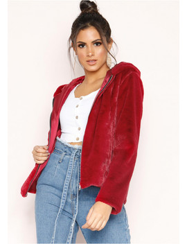 Zinnia Wine Faux Fur Hooded Jacket by Missy Empire