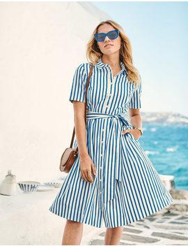Anastasia Shirt Dress   Blue Stripe by Boden