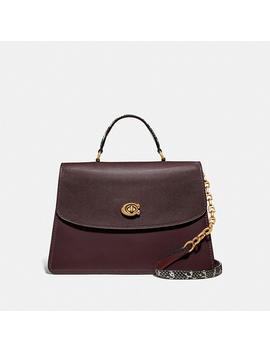 Parker Top Handle 32 In Colorblock With Snakeskin Detail by Coach